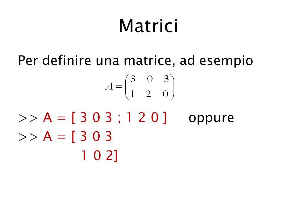 Matrici Per definire una matrice, ad esempio >> A = [ 3 0 3 ; 1 2 0 ] oppure >> A = [ 3 0 3 1 0 2]